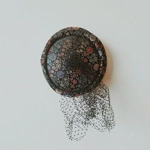 Rare Vintage Multicolored Net / Veil Pillbox Hat